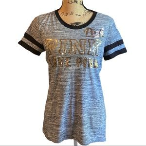 Pink Victoria's Secret Sequined Ringer Tee Shirt